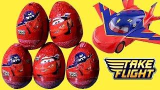 getlinkyoutube.com-CARS TOONS Huevos Sorpresa Disney Pixar Air Mater Take Flight Same as Choco Kinder Surprise Eggs