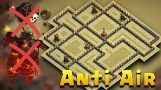 getlinkyoutube.com-Town Hall 9 War Base Anti Air Attack | TH9 War Base Anti New Meta (Lavaloon) 2017 | Clash Of Clans