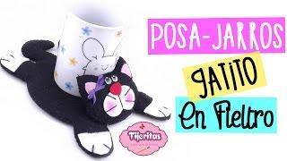 getlinkyoutube.com-IDEAS PARA REGALAR Posa Jarros de Gatito - Facil - Manualidades en Fieltro paño lenci