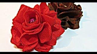 getlinkyoutube.com-Como hacer rosas de fieltro. Felt roses.