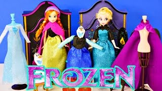 getlinkyoutube.com-FROZEN Official Disney Store Dolls Elsa and Anna Wardrobe Playset Furniture Outfits Shoes Clothing