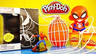 getlinkyoutube.com-Play Doh Spiderman Surprise Egg Kidrobot Giant Venom Superhero Toys - Disney Cars Toy Club