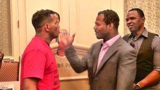 getlinkyoutube.com-Shane Mosley vs. Ricardo Mayorga crazy staredown! Shane smacks Mayorga's cigarette