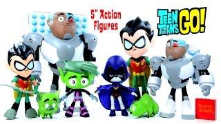 "getlinkyoutube.com-Teen Titans Go! w/ Robin Cyborg Beast Boy & Raven 5"" Action Figures by Jazwares Unboxing"