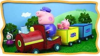 getlinkyoutube.com-Паровозик дедушки Пеппы Забавные игрушки детям на канале ИграШоуТВ Peppa Pig Grandfather locomotive