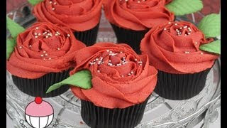getlinkyoutube.com-Rose Cupcakes! Decorate Buttercream Rose Swirl Cupcakes - A Cupcake Addiction How To Tutorial