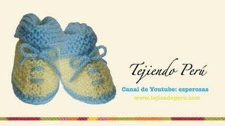 getlinkyoutube.com-Zapatitos con solapa para bebé en dos agujas