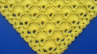 getlinkyoutube.com-Chal Triangular Tejido a Crochet en Punto Abanicos