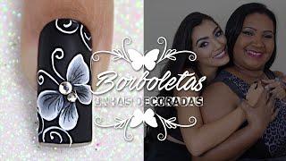 getlinkyoutube.com-Unhas Decoradas com Borboletas em One Stroke (Passo a Passo) | Cola na Villar