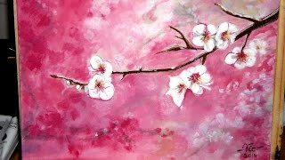 getlinkyoutube.com-Timelapse acrylic painting Cherry blossoms (how to paint)