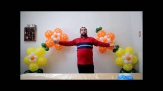 getlinkyoutube.com-No helium flower balloon arch  How to make a flower arch without a frame stand or helum
