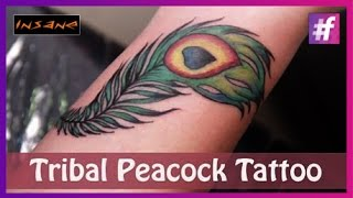 getlinkyoutube.com-Feather Tattoo: Coloring and Shading | Peacock Feather Tattoo