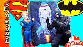 Worlds Biggest Fortsy Surprise Egg Battle! Batman Superman + Inflatable Fort Adventure HobbyKidsTV