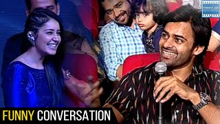 getlinkyoutube.com-Sai Dharam Tej And Rashi Khanna Funny Conversation @ Okka Ammayi Thappa Audio Launch | TFPC