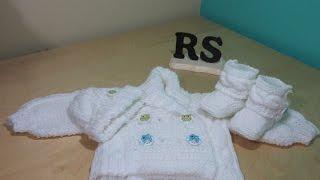 getlinkyoutube.com-Como tejer abrigo de trenzas para bebé recien nacido principiantes