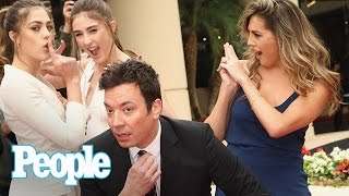 flushyoutube.com-Jimmy Fallon & Sylvester Stallone's Daughters Tease 2017 Golden Globes | People NOW | People