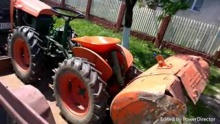 getlinkyoutube.com-SMALL GARDEN tractor GOLDONI EXPORT 4x4 tractor loading on trailer and going to work.