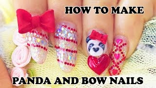 getlinkyoutube.com-How to make 3D Panda nails and Bows charms with acrylic powder