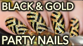 getlinkyoutube.com-Black & gold fancy party striped nail art