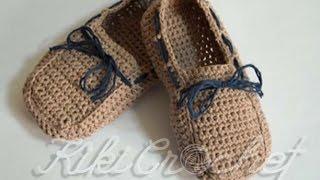 getlinkyoutube.com-Πλεκτα Μοκασινια με Βελονακι/ Crochet Boat Shoes Tutorial