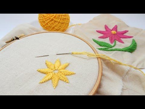 Beginner Embroidery - Raised Fishbone Stitch