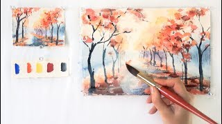 getlinkyoutube.com-Autumn Alley. Step by step watercolor tutorial. Part 1