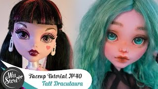 Faceup Tutorial №40 Tall Draculaura 17'' OOAK Monster High Custom doll repaint by WillStore