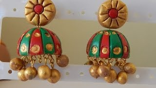 getlinkyoutube.com-DIY: Terracotta Jewellery how to make Jumka earring part-1