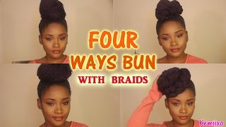 getlinkyoutube.com-4 WAYS HAIR BUN STYLES with senegalese/rope twists braids | Kemiixo