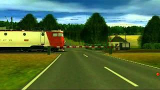 getlinkyoutube.com-Railroad crossing on trainz simulator 2009 / bariera semnalizata vizual si acustic in trainz 2009