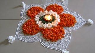 getlinkyoutube.com-Easy and beautiful rangoli using marigold flowers | Innovative rangoli designs by Poonam Borkar