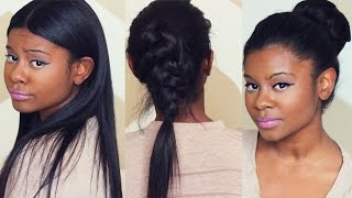 getlinkyoutube.com-SLEEK FALL HAIRSTYLES with CLIP IN EXTENSIONS | Better Length Light Yaki Clip Ins