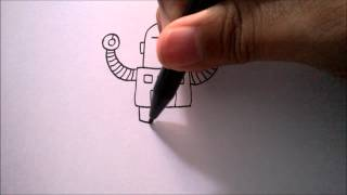 "getlinkyoutube.com-CARA MENGGAMBAR ROBOT DARI HURUF ""T"" | HOW TO DRAW A ROBOT FROM A LETTER ""T"""