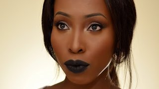getlinkyoutube.com-Fall Makeup Tutorial Limecrime Black Velvet Lips on Women of Colour, WOC, Dark Skin Prom