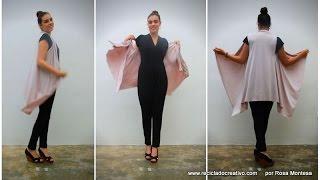 getlinkyoutube.com-Cómo hacer un chaleco sin coser. Con un pañuelo, un trozo de tela o un foulard