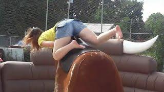 getlinkyoutube.com-Mechanical Bull Riding Fail Compilation [NEW]
