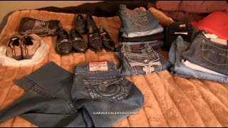 getlinkyoutube.com-GARAGE SALE FINDS - PRADA, ROCK REVIVAL AND GUCCI ! ! ! Part 1