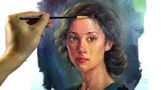 getlinkyoutube.com-Art Oil painting pretty girl portrait on canvas