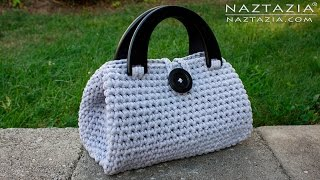 getlinkyoutube.com-DIY Tutorial - Crochet Easy Casual Friday Handbag with Lining - Lined Purse Bag Bolsa Borsa