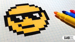 getlinkyoutube.com-Handmade Pixel Art - How To Draw The Sunglasses emoji #pixelart