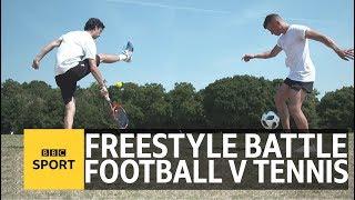 Tennis v Football Freestyle battle – Wimbledon 2018 – BBC Sport width=