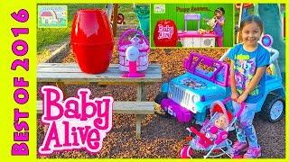 getlinkyoutube.com-BIG Egg Surprise Opening Baby Alive dolls Frozen Elsa Ride-On Toys & Babies Nursery My Baby All Gone