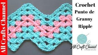 getlinkyoutube.com-Aprenda a tejer un patron de #crochet - Granny Ripple