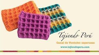 getlinkyoutube.com-Punto waffle tejido a crochet (tejido abierto y en circular)