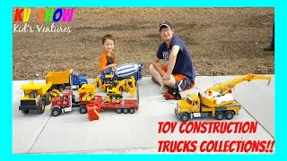 Playing With His Toy Construction Trucks Collection! Bruder, Tonka and More!