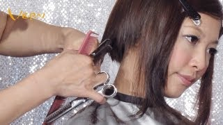 How to cut pixie concave bob women haircut with curly bangs by Cherry,郭雪芙鮑伯女短髮型,Vern Hairstyles 13