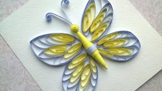 getlinkyoutube.com-Quilling instructions: How to make quilling butterfly with comb. Quilling patterns.