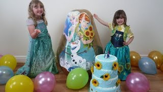 getlinkyoutube.com-Disney Frozen Videos Super Giant Golden Surprise Egg Frozen Fever Elsa Anna Dolls Toys Let It Go
