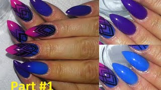 getlinkyoutube.com-Graphic Neon Ombre Almond Acrylic Nails + Review On Madam Glams Chameleon Gels #1