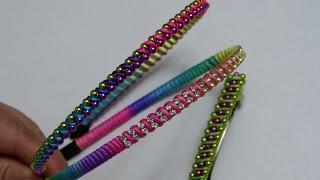 getlinkyoutube.com-Como tejer Diademas fácilmente con cordón cola de Ratón y perlas continuas